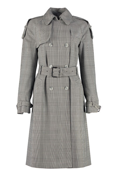 Checked wool trench coat