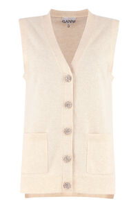 Embellished button cashmere vest, Cardigan GANNI woman