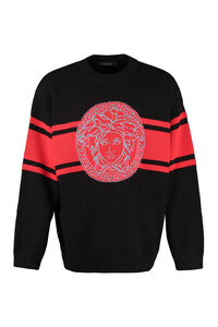 Ribbed wool sweater, Crew necks sweaters Versace man