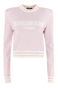 Wool-cashmere blend crew-neck pullover, Crew neck sweaters Balmain woman