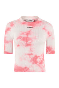 T-shirt in cotone a costine, T-shirt MSGM woman