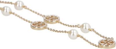 Pearls and logo charms necklace