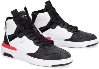 Wing leather high-top sneakers