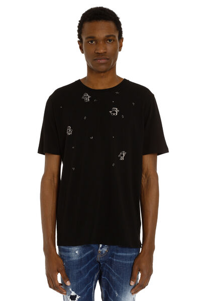 Cotton t-shirt with faded robots print