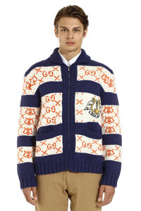 Embroidered wool cardigan, Knitted zip throughs Gucci man