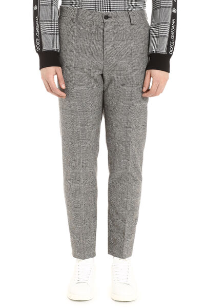 Prince of Wales check wool trousers