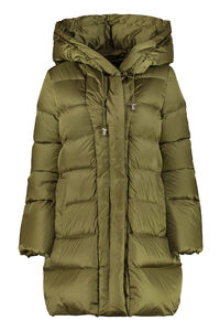 Hooded techno satin down jacket, Down Jackets add woman