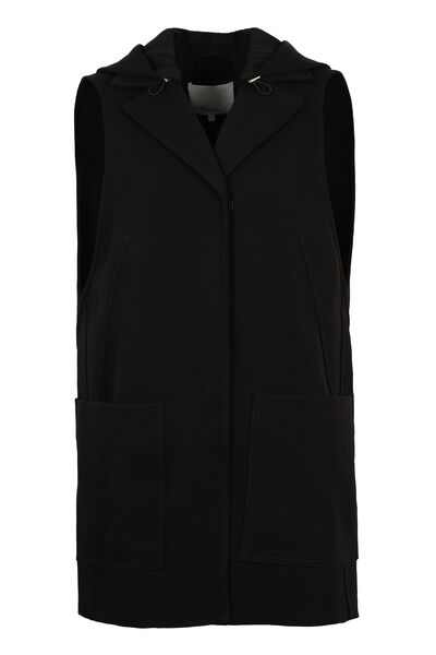 Hooded twill vest
