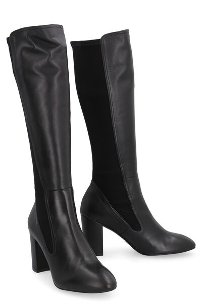 Leather and stretch fabric boots