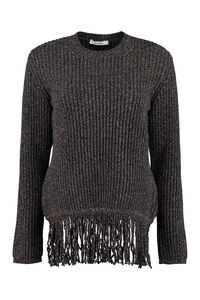 Femme ribbed sweater with fringes, Crew neck sweaters Max Mara woman