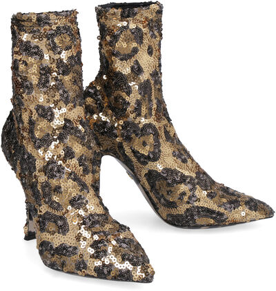 Sequined pointy-toe sock-boots