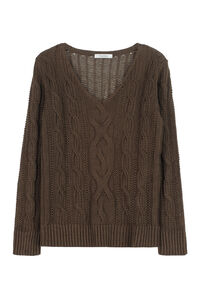 Peplo cable knit pullover, V neck sweaters Max Mara woman