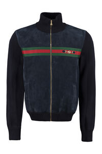 Cardigan with leather frontal panel, Cardigans Gucci man