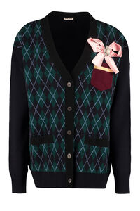 Virgin wool cardigan, Cardigan Miu Miu woman