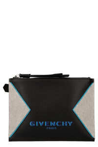 Logo detail flat leather pouch, Poches Givenchy man