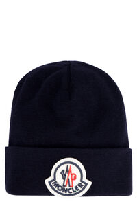 Logo patch wool beanie, Hats Moncler man