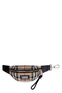 Fabric and leather key ring, Keyrings Burberry man