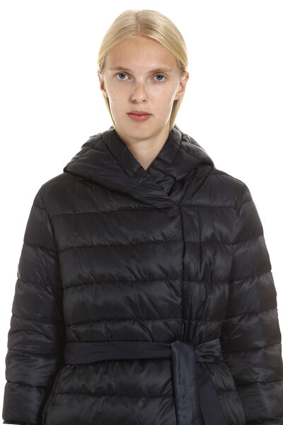 Novef reversible down jacket with double waist belt